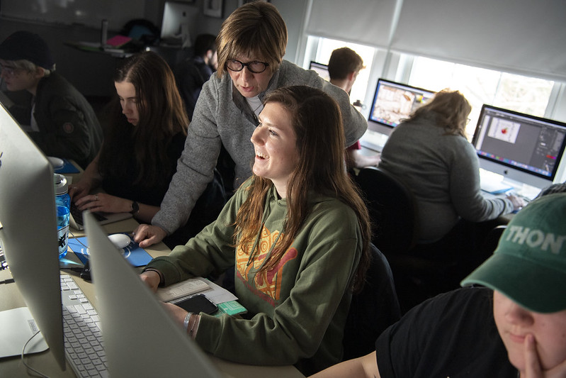 Students working at a computer
