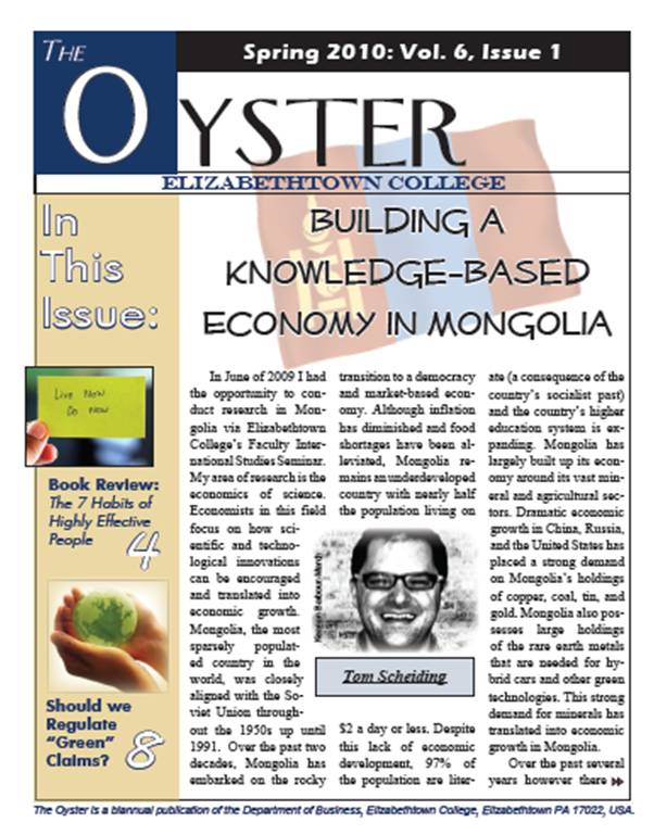 cover of the spring 2010 oyster publication from the etown business department