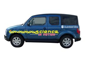 science in motion mobile truck honda element with logo and dna strand