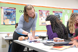 Etown Student teaching in classroom