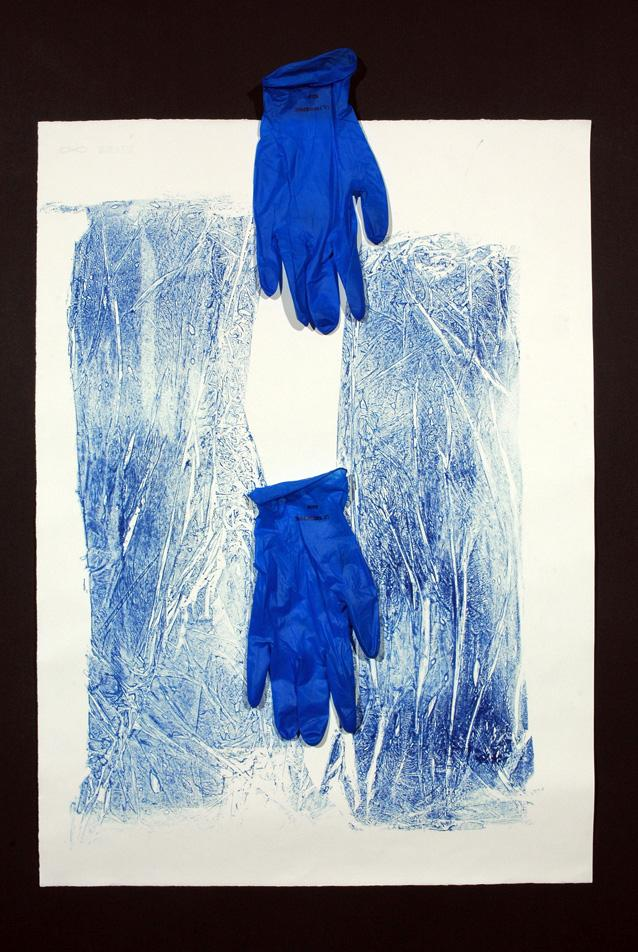milt friedly work with blue gloves