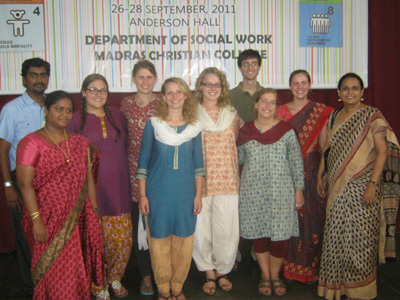 group of etown social work students in indian dress interning abroad
