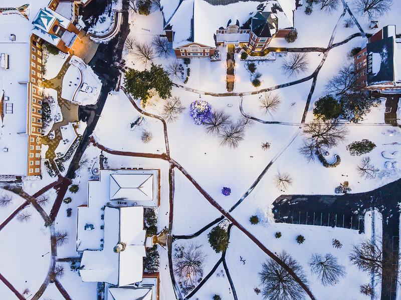Campus from above with snow