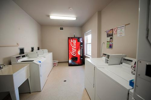 laundry room in quads with soda machine