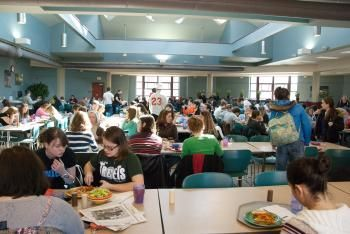 interior of marketplace with lots of students seated at tables