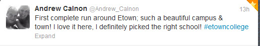 example tweet about student taking first run around campus; says he glad he picked E-town