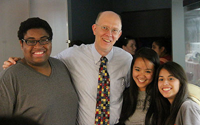 President Carl Strikwerda with Students