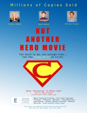 sample of post showing a spoof of hero movie poster showing copy staff