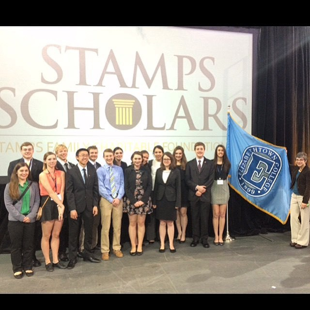 Stamps scholars with the Etown flag at Stamps National Convention