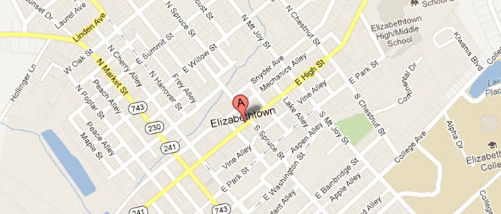 map of etown